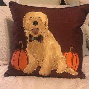 Fall Decor Throw Pillow Goldendoodle